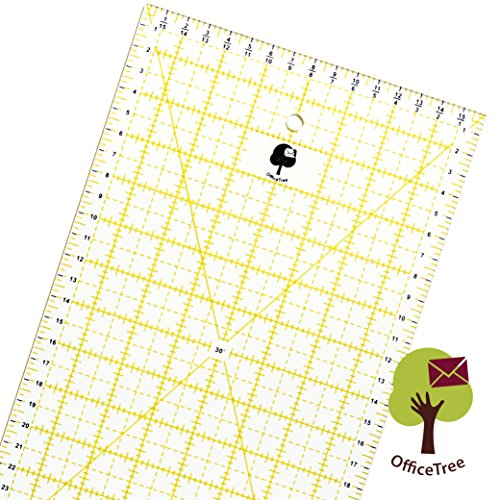 OfficeTree Universal-Lineal Patchwork- Quilt- Rollschneider-Lineal - Nähen Basteln mit exakten Abmessungen und Zuschnitten - transparent - 60 cm x 16 cm