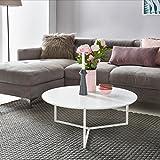 Design Couchtisch WHITE 80 cm Rund Weiß Matt lackiert | Moderner Wohnzimmertisch MDF Holz | Lounge Sofa Tisch Metall Gestell