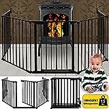 Deuba Kaminschutzgitter - Auswahl | Kinderschutzgitter aus 5 Elementen | Schutzgitter 15 & 30 kg | Ofenschutzgitter Absperrgitter