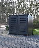 2 Mülltonnenboxen Modell No.6 für 240 Liter Mülltonnen / komplett Anthrazit RAL 7016 / witterungsbeständig durch Pulverbeschichtung / mit Klappdeckel und Fronttür