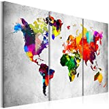 murando - Bilder 135x90 cm - Leinwandbilder - Fertig Aufgespannt - Vlies Leinwand – 3 Teilig - Wandbilder XXL - Kunstdrucke - Wandbild - Weltkarte Welt Karte Kontinent Landkarte k-A-0098-b-e