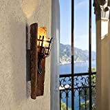 Wandleuchte E27 Wandfackel | Wandlampe 230V max.60W | Dachziegelleuchte mediterran antik | Leuchte mit Klosterziegel | Fackelleuchte für die Wand