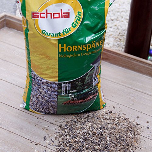 Schola Hornspäne 2,5 kg | zur Düngung und Humusbildung bei allen Nutz- und Zierpflanzen | Anwendung von Marz - April