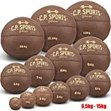 C.P.Sports Medizinball Leder braun K5, Gewichtsball, Original Medizinbälle, Crossfit Ball, Gymnastikball - 0,5 kg, 1 kg, 2 kg, 3 kg, 4 kg, 5 kg, 6 kg, 7 kg, 8 kg, 9 kg, 10 kg, 12,5 kg, 15 kg (6,0-KG)
