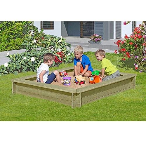 Sandkasten 180 x 180 x 30 cm aus Holz 30 mm imprägniert von Gartenpirat