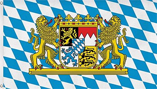 Flagge Bayern Löwe Freistaat 90 x 150 cm Fahne mit 2 Ösen 90g/m² Stoffgewicht Hissen EXTREM REIßFEST,sehr robust, extra starke Messing-Ösen - mehrfach umlaufend genäht, ideal als Hissflagge Hissfahne für Innen/Außen, für Haus, Garten zur Deko, verstärkte Stoffqualität, hohe Farbbrillanz, Lichtecht , sauber vernäht