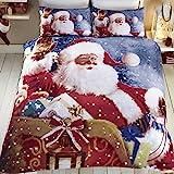 Tony's Textiles - Bettwäscheset mit Deckenbezug - Weihnachtsmann und Schlitten - Weihnachtsmann - Einzelbett