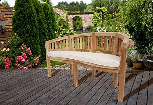 SAM 3-Sitzer Bananenbank Banana, Sitzbank aus Teak-Holz, Gartenbank, 150 cm, aus Massivholz, für Ihren Garten