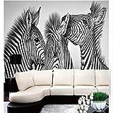 Wolipos 3D Wandmalerei Wand-Aufkleber Tapete Wandtattoo Gewohnheit Schwarzweiss Und Die Zebra-Sofalandschaft Zusammenfassung Hd Dekoration 350Cmx260Cm
