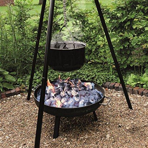 4 in 1 Multi-Grillset 'OSLO' - 180 cm Schwenkgrill mit Kettenzug und XXL Grillrost+ große Feuerschale + 15 Liter Emaille-Kochtopf für Glühwein oder Eintopf + 2 Flammlachshalter 2341