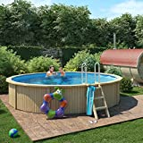 Holzpool von ISIDOR, Swimmingpool CASPIAN mit Stahlwand inkl. Filterpumpe 460x90cm