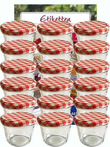Vorratsgläser-Sturzgläser Set | Menge 25 Stück | Füllmenge 230 ml | inkl. Schraubdeckel Deckelfarbe Rot Karriert 25 Etiketten NZ zum beschriften | allrounder für Marmeladengläser Einmachgläser Einweckgläser