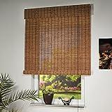 Holzrollo Farbe braun Breite 80 - 160 cm Läng 170 cm Seitenzug Fenster Tür Rollos (160 x 170 cm)