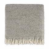 URBANARA Wolldecke 'Gotland' - 100% reine Schurwolle, Grau/Creme mit Rautenmuster - 140 x 220 cm, Sofadecke, Schurwolldecke, Überwurf, Kuscheldecke, warme Decke