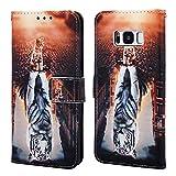 Nadoli Leder Hülle für Galaxy S8 Plus,Bunt Katze Tiger Malerei Ultra Dünne Magnetverschluss Standfunktion Handyhülle Tasche Brieftasche Etui Schutzhülle für Samsung Galaxy S8 Plus