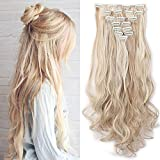 Haarteil Clip in Extensions wie Echthaar Honigblond/Blond 8 Tresssen günstig komplette Haarverlängerung Gewellt 24'(60cm)-140g