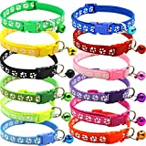 BETOY Pet Katzenhalsband mit Glöckchen,Halsband-Set für Katzen, reflektierendelastisches Katzenhalsband, personalisierbar Katzenmarken Mit Name und Telefonnummer , verstellbar 20-30 cm(12 pcs)