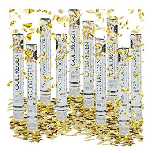10 x Party Popper 40 cm im Konfettikanonen Set, Konfetti Bombe für Hochzeit und Geburtstag, Konfetti Shooter 6-8 m Effekthöhe, gold metallic