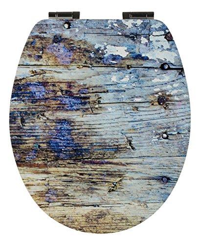 WC-Sitz Matt Dekor Artholz I Toilettensitz I WC-Brille aus Holz I Mit Absenkautomatik I Holzoptik Blau