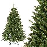 FairyTrees künstlicher Weihnachtsbaum FICHTE Natur, grüner Stamm, Material PVC, inkl. Metallständer, 180cm, FT01-180