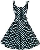 Bbonlinedress 1950er Vintage Polka Dots Pinup Retro Rockabilly Kleid Cocktailkleider Burgundy XS
