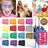 Emooqi Kinderschminke Set Gesichtsfarbe, 16 Farbe Kinderschminke Farben mit 2 Stück Glitter Pulver +2 Bürsten +40 Schablonen für Kinder Geschenk, Wasserbasiert, Leicht Abnehmbar, Ungiftig, Sicher