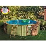 Paradies Pool GmbH Holzpool Einzelbecken 4,00 x 1,20 m mit Tiefbeckenleiter Edelstahl