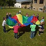 Sport Thieme Schwungtuch Standard für Kinder, Familie, Sport | Durchmesser 4m | 12 eingenähte Handgriffe | Regenbogen bunt | Für Drinnen und draußen, ø 4 m, 12 Handgriffe