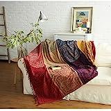 SHANNA Chenille-Überwurfdecke, Vintage-Jacquard-Quasten, doppelseitig, Patchwork-Decke, warm, luxuriös, dekorativ für Zuhause, Büro, Reisen, Tibet Red, 86.6 * 98.4in