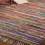 Fair Trade Flickenteppich, handgemacht, aus indischer 100% recycelter Baumwolle, bunt, Textil, multi, 60 x 90cm