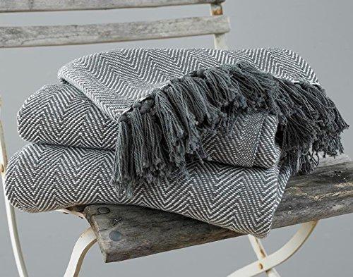 EHC Tagesdecke, King Size, Fischgrätendesign, 100 % Baumwolle, Überwurf für Sofa / Bett, 225x 250cm, Grau