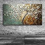 ERQINGYH Malerei Und Kalligraphie Handgefertigte Moderne Leinwand Auf Ölgemälde Spachtel Baum 3D Blumen Gemälde Home Wohnzimmer Dekor Wandkunst