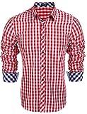 Coofandy Herren Hemd Kariert Cargohemd Trachtenhemd Baumwolle Freizeit Regular Fit (S, A-Rot)