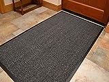 Premium Fußmatte in attraktiver Optik für Eingangsbereich und Außenbereich, Schmutzfangmatten,Fußabtreter, Türmatte, Barrierematte,für Zuhause oder fürs Büro oder vor der Garage(90x150cm,grau