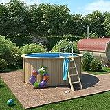 ISIDOR CONNIE Holzpool mit Stahlwand inkl. Sandfilterpumpe 300x120cm (Ø 300 mit Holz/Edelstahlleiter)