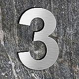 qoboob Edelstahl Hausnummern 3 Drei Straße Nummer Fein gebürstet Silber 200mm (1 Stück)