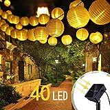 Vivibel Solar Lampions Lichterkette Außen 7.5 Meter 40 LED Lampions 2 Modi IP 65 Wasserdicht Solar Beleuchtung Aussen für Garten, Hof, Balkon, Hochzeit, Fest Deko