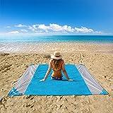 OUSPT Picknickdecke,Stranddecke Campingdecke Strandtuch 210 x 200 cm, Picknickdecke Campingdecke Strandtuch,4 Befestigung Ecken, Ultraleicht Kompakt Wasserdicht und sandabweisend (Blau+Grau)