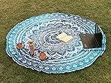 raajsee Indien Strandtuch Rund Mandala Hippie/Groß Indisch Rundes Baumwolle/Boho Runder Yoga Matte Tuch Meditation/Tischdecke Rund aufhänger Decke Picknick handgefertigt Teppich 70 inch
