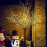 VINGO LED Kirschblütenbaum 250cm | Warmweiß | 600 LED Weihnachtsdekoration Lichterbaum IP44 für Innen und Außen Metallfuß Stabil