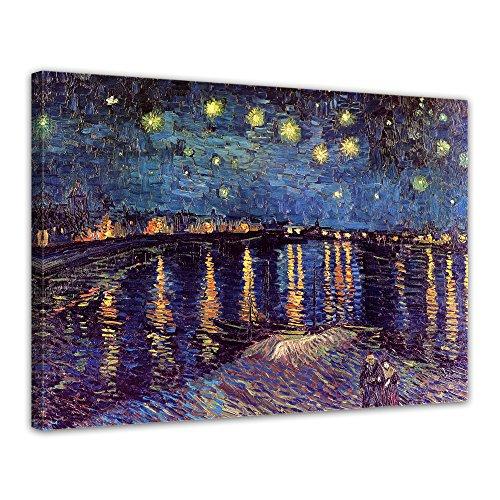 Leinwandbild - Vincent van Gogh - Sternennacht über der Rhône - 80x60cm einteilig - Alte Meister - Bilder als Leinwanddruck - Kunstdruck - Leinwandbilder - Bild auf Leinwand - Wandbild von Bilderdepot24
