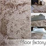 floor factory Hochflor Shaggy Teppich Prestige hellbraun 140x200 cm - superweicher flauschiger Langflor Teppich