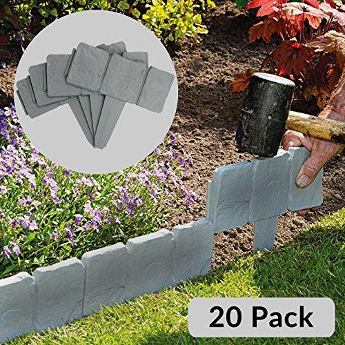 Maison & White 5 Meter Grey Stone Effect Rasenkanten | Pflanzengrenze | Hammer In Cobblestone Garten Grenze | Blumenbeet & Gras | 20 Stück (5m)