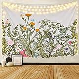 Mazheny Tapisserie Moon Phase Change Wandbehang Tapisserie, Wandteppich mit Art Nature Home Dekorationen für Wohnzimmer, Schlafzimmer Dekor (Blumen Pflanzen, 51.2' x 59.1')