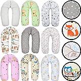Stillkissen/Lagerungskissen / Seitenschläferkissen/Kissen mit bunten Motiven Baby Kind (160 cm) (IGEL WEIß/GRAU)