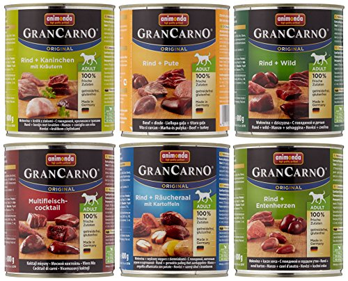 Animonda GranCarno Hundefutter Original Adult Mix 2 aus 6 Varietäten, 6er Pack (6 x 800 g)