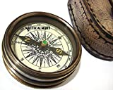 Brass Compass pocket compass, poem by Robert Frost engraved in the lid, with leather case by naiuticalmart