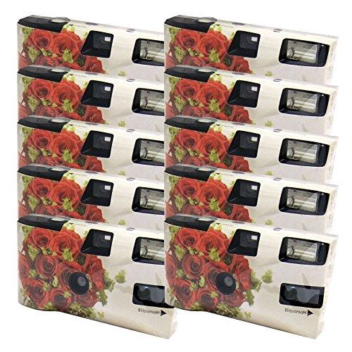 Einwegkamera / Hochzeitskamera Rote Rosen (27 Fotos, Blitz, 10-er Pack)