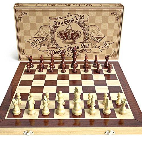 aGreatLife Schachspiel aus Holz klappbar - Universales Standard Schachbrettspiel - Handgefertigt mit 15-Zoll Schach Brett und Magnetverschluss - Perfekt für Anfänger und als Kinderschach