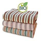 SonnenStrick 3009012 Erstlingsdecke / Babydecke / Kuscheldecke / Strickdecke mit zartem Streifenmuster aus 100 Prozent Bio Baumwolle 80 x 80 cm, rosa